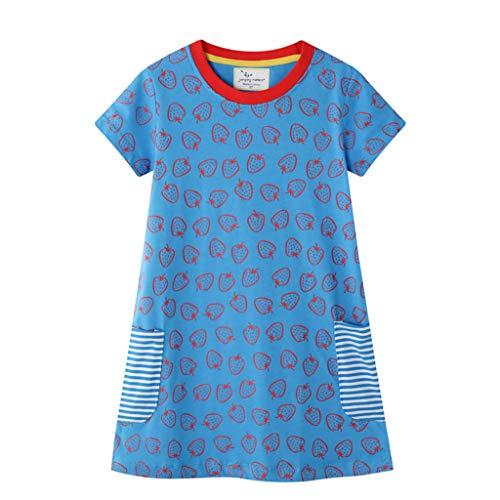 Vestido de niña de 1 a 7 años de Manga Corta para niña, Ropa Diaria de niña, Vestido de el Verano