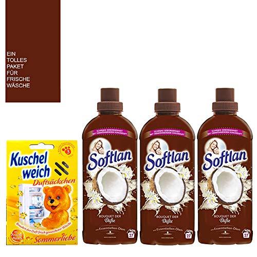 Suavizante Softlan de 3 x 650 ml, set de aromas de coco y flores blancas, aroma de coco, 81 lavados, aroma de coco suave y duradero, incluye 22 toallitas Dr. Beckmann