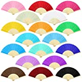 Aneco 18 Pieces 18 Colors Handheld Fans Cloth Hand Fans Bamboo Folding Fans for Wedding Decoration, Church Wedding Gifts, Party Favors, DIY Decoration