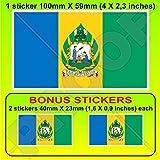 Saint Vincent & die Grennadinen ehemalige Flagge, Lesser Antilles, 100 mm, Vinyl-Aufkleber x 1 + 2 Bonus