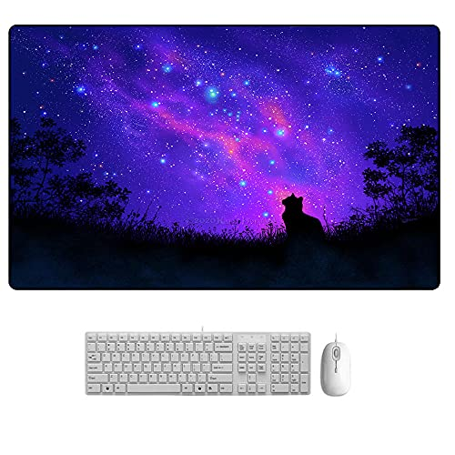 Starry Sky Alfombrilla de Ratón Extendida Mousepad Tapete de Escritura Estera Oficina Alfombrilla de Escritorio Protector Escritorio C XL(300x700mm)