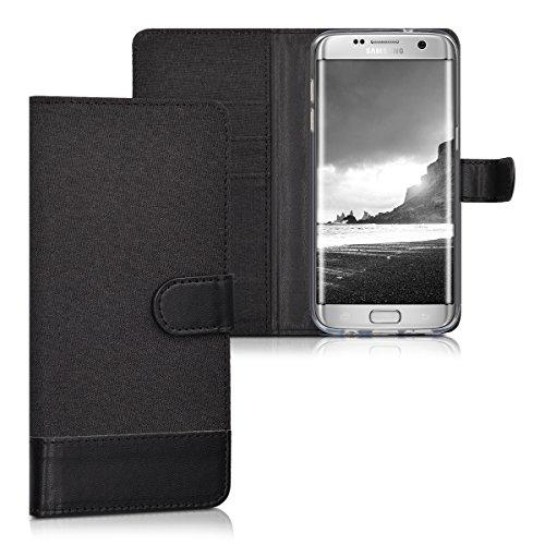 kwmobile Funda para Samsung Galaxy S7 Edge - Carcasa de Tela y Cuero sintético - con Tapa y Tarjetero Antracita/Negro