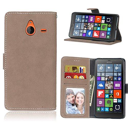 Janeqi per Nokia Microsoft Lumia 640XL Cover Custodia - Borsa Vintage in Pelle Flip con Trattamento Anti-Caduta Case Cover - H8/Beige