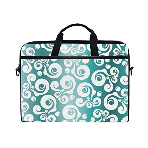 EZIOLY Retro Turquoise Floral Laptop Shoulder Messenger Bag Case Sleeve for 13 Inch to 14 inch Laptop