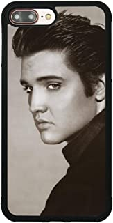 Elvis Presley Case for iPhone 7 Plus / 8 Plus (5.5 Inch) Comic TPU Silicone Gel Edge + PC Bumper Case Skin Protective Printed Phone Full Protection Cover