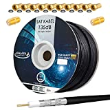 Cable coaxial SAT CCS PRO de 135 dB 100 m apantallado cable de antena coaxial de acero y cobre para instalaciones DVB-S / S2 DVB-C y DVB-T BK+10 conectores F dorados y 2 conectores F gratis.