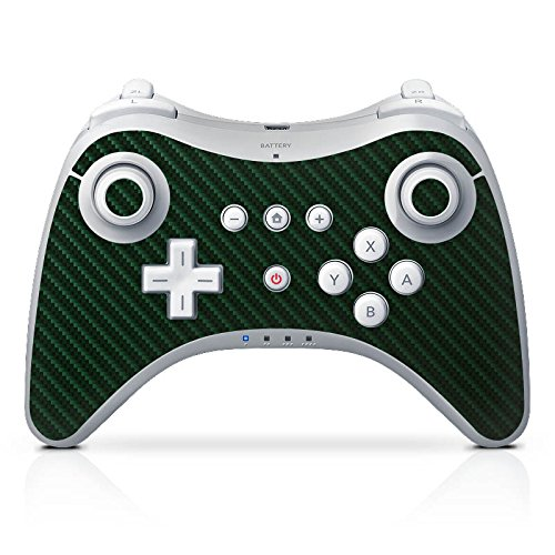 DeinDesign Skin kompatibel mit Nintendo Wii U Pro Controller Folie Sticker Carbon Metallic Look grün