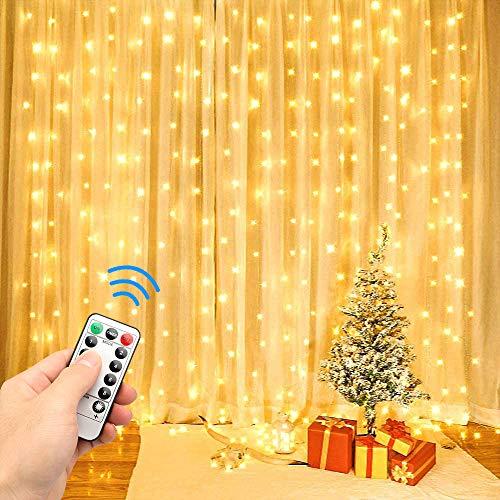 Mr.Twinklelight USB Lichtervorhang, 300 LEDs 3m x 3m Lichterkettenvorhang mit 8 Modi, Lichterketten für Innen Außen Deko Schlafzimmer, Partydekoration, Weihnachten(Warmweiß) [Energieklasse A+++]