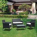 BMOT Conjunto de jardín de 4 plazas Muebles Ratán Juego con Mesa, Cojines incluidos, Muebles Ratán Juego para Terraza o Balcón, Color Negro