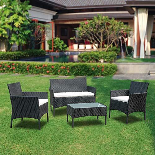 BMOT Juego de muebles de jardín para 4 personas, color negro, 7 piezas, con mesa, cojín de asiento lavable, plástico, aspecto de ratán plano, para balcón o terraza