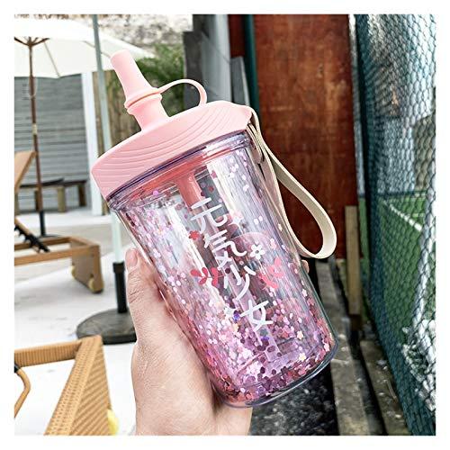 Taza Termo para niños Moda Impresa Taza de Agua de Agua de Silicona Taza a Prueba de Fugas con Tapa para niña, Lentejuelas, Lentejuelas, Botella de Agua de Paja portátil (Color : Small Pink)