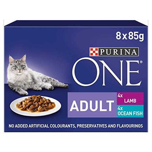 Purina One Adult Wet Cat Food Ocean Fish And Lamb Mini filetti in Salsa, 8x 85g–Confezione da 5