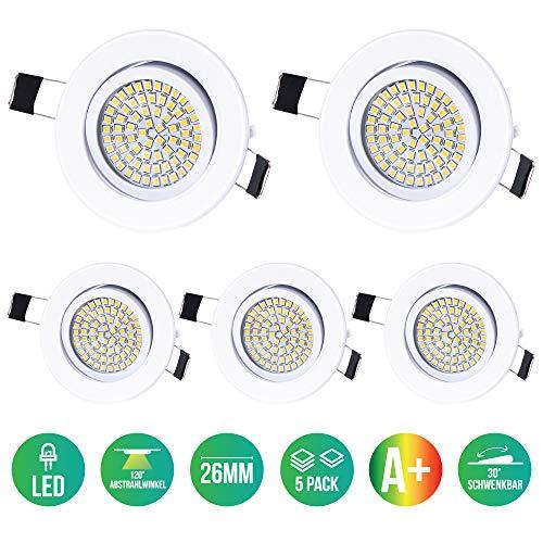Preisvergleich Produktbild 5 x Lu-Mi LED Einbaustrahler Flach 230V - Deckenspots Ultra Flach Einbaustrahler / 350 Lumen / 230V / 3, 5W / Licht: Kaltweiss 6000K / Gehäuse Rund (Weiß)