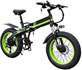 Electric Bike Electric Mountain Bike, Electric Bikes for Adult 1000w Foldable Electric Bike 20inch Wide Rim 7-speed Ebike with 48v 14ah Removable Lithium Battery Powerful All Terrain Beach Electric Bi
