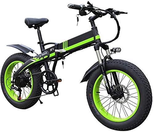 Bici electrica, Bicicletas eléctricas for adultos 1000w eléctrica plegable de la bici 20inch borde ancho de 7 velocidades Ebike con 48v 14ah batería de litio extraíble Potente Todo Terreno Playa bicic