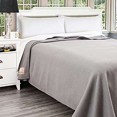 Poyet Motte Antibes 350GSM 100-Percent Wool Medium Weight Oversized Blanket, Machine Washable (Grey, Full/Queen Size)