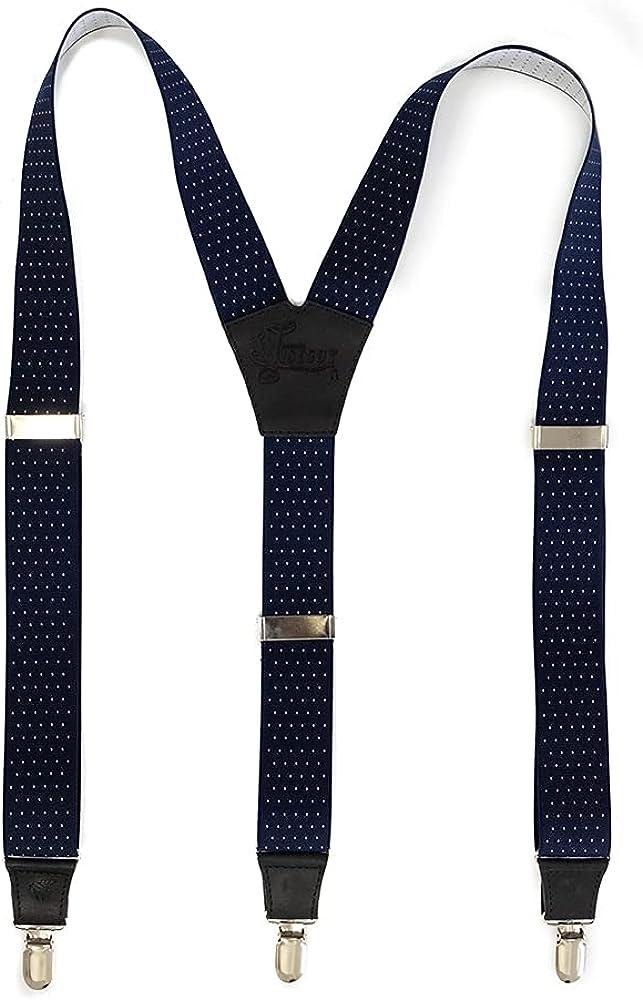 Suspenders The Barista Blue Elastic Wide 1.36 inch | Wiseguy Original (M/L)