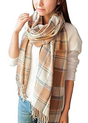 Wander Agio Women's Fashion Long Shawl Big Grid Winter Warm Lattice Large Scarf