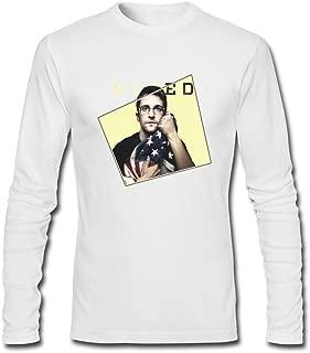SDAKGF Men's Edward Snowden with Flag Long Sleeve T Shirt XXXL