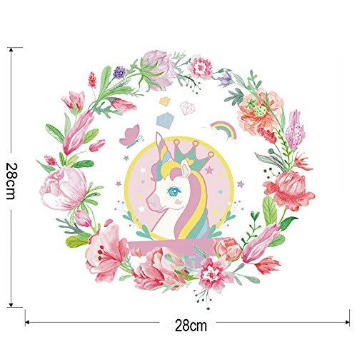 Kinderzimmer Aufkleber_Ebay Neue Blumen Einhorn Wandaufkleber Wohnzimmer Schlafzimmer Kinderzimmer Aufkleber Jh1033 @ Jh1033 (28 * 28 Cm)