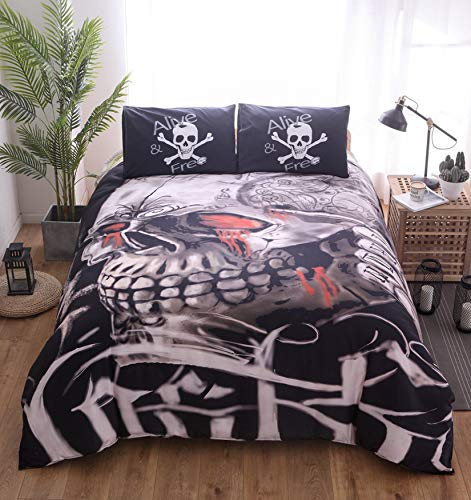 MGORJGR Skull Wake Bedding Set Large King Size Classic Black and White European American Universal Bed Set-1 Duvet Cover-2 Pillow Cases
