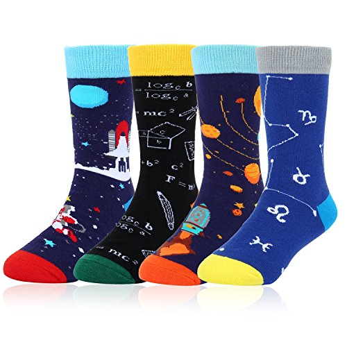 Boys 4 Pack Crazy Silly Math Space Cotton Crew Socks, Funny Science with Gift Box