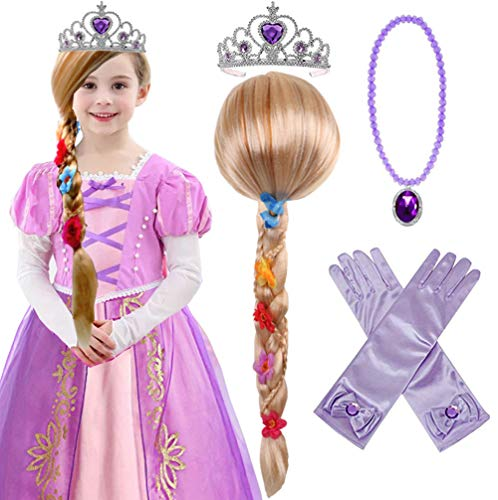 Princess Rapunzel Wig Rapunzel Braid with Princess Tiara Necklace Gloves Princess Rapunzel Dress Up Costume Cosplay Accessories for Kids Girls