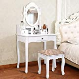 Giantex Vanity Set with Oval Mirror and Cushioned Stool, Wood Dressing Table with 3 Drawers and Storage Shelf, Bedroom Bathroom Makeup Table with Rotatable Mirror for Girls Women (White)