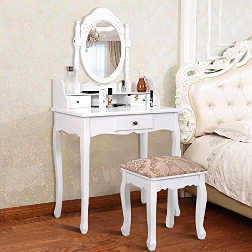 Giantex Vanity Set with Oval Mirror and Cushioned Stool, Wood Dressing Table with 3 Drawers and Storage Shelf, Bedroom Bathroom Makeup Table with Rotatable Mirror for Girls Women (Black)