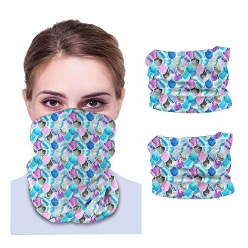 SLHFPX Pink, Blue, Violet and Grey Colors Neck Gaiter Face Mask Set of 2 Bandana Anti-Dust Marks Windproof Neck Warmer for Outdoor Sports