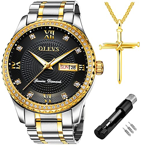OLEVS Luxury Diamond Day Date Dress Watches for Men Black Dial Big Face Gold Bezel Luminous,Male Business Casual Analog Quartz Wrist Watch Waterproof with Stainless Steel Band Gift Silver Two Tone