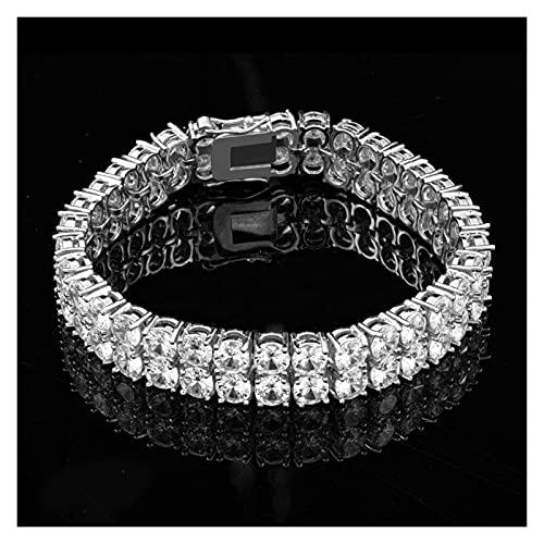 LYWER Dorado galvolateado Cobre circón circón Completo Pulsera Pulsera Fila Diamante Hip Hop Tennis Cadena de Tenis Regalo ( Color : Silver )