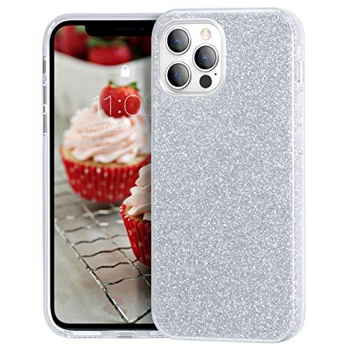 MATEPROX Glitterata Custodia per iPhone 12 Pro Max Custodia, Sparkle Lucida Crystal Glitter Sottile Protettivo Cover per iPhone 12 Pro Max 6.7'' 2020-Argento