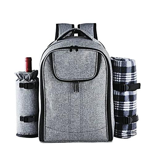 Mochila de picnic, para 4 personas con compartimento aislante,soporte desmontable,para vino, manta de forro polar, platos y cubiertos para camping al aire libre