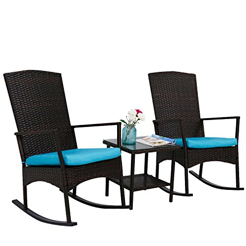 kinbor 3 Piece Brown PE Rattan Rocking Chairs Outdoor Bistro Set with Glass