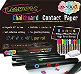 Magnetic Chalkboard Contact Paper 48x17.4 Inch Self Adhesive Magnet Wallpaper with 10 Neon Liquid Markers, Non-porous Magnetic Boards for Alphabet Learning, Toddlers Kids Writing Board, Playroom Decor