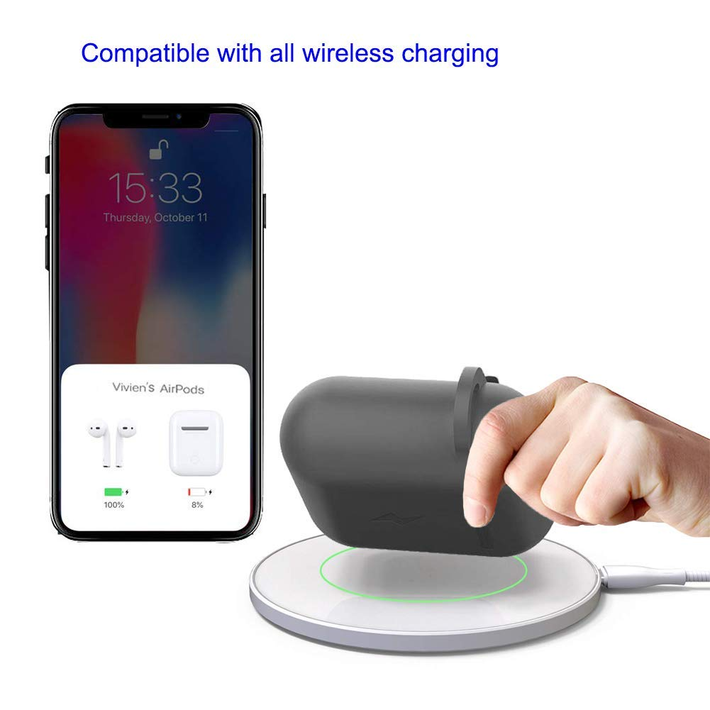 LIKDAY 3 in 1 Wireless Charging Airpods case Compatible with Qi Standard Wireless Charging Mats Black Charging Case for Airpod 1/&2,Newest AirPod Accessories
