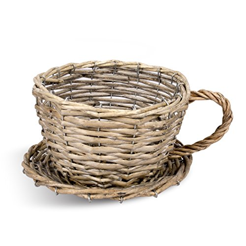 BASIC HOUSE Tea Cup Shaped Wicker Gift Hampers Flower Pot Home Deco Basket