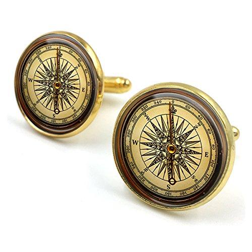 Butterfly N Beez Antike Bronze Vintage Kompass Glaskuppel Runde Cabochon Manschettenknöpfe Geschenk UK