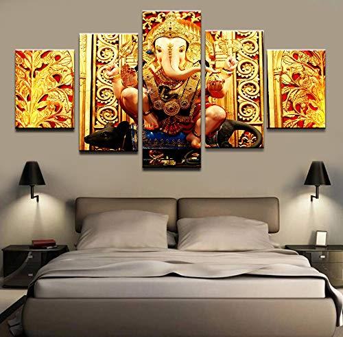HIMFL Wandkunst Segeltuch Modular Bilder Wohnzimmer HD-Drucke Plakate 5 Panel Elefantenkopf Gott Gemälde Zuhause Dekorativ,A,20×35×2+20×45×2+20×55×1