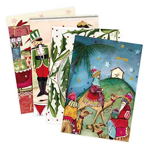 4er Set Glückwunschkarten zu Weihnachten, Schlitten, Heilige drei Könige, Nussknacker, Engel, Weihnachtsmann, neutral, Junge, Mädchen, blanko, Karte zu Weihnachten, DIN A6