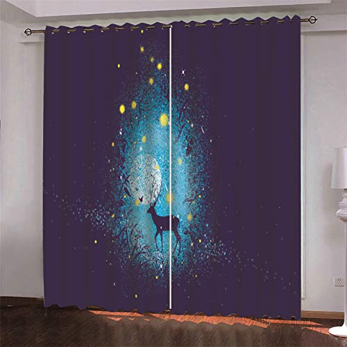SSHHJ Digital Printing 3D Blackout Curtains Polyester Waterproof Does Not Require Perforated Curtains Animal Cartoon Pattern 2 Pieces