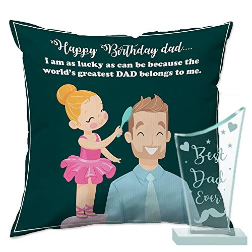 PAPER PLANE DESIGN Happy Birthday Combo of Trophy, 12 x 12 inch Cushion and Filler for Father (Standard Size, Multicolour)