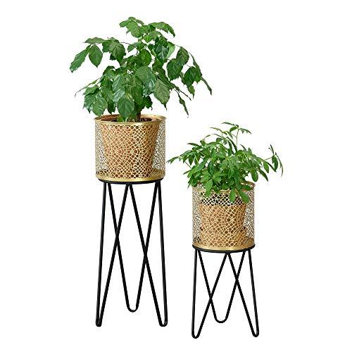 [en.casa] Pflanzständer im 2er Set Blumenständer aus Metall Blumentopf Ständer mit Übertopf Blumentopfhalter 2-TLG. Pflanztopf Deko Schwarz-Goldfarben Hairpin Legs 3 Streben