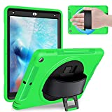 Weuiean Compatible with iPad 6th/5th Generation 2018 2017 Case, Full-Body Shock Drop Proof Case with 360 Rotating Hand Strap Screen Protector Stand for iPad 6th/5th 9.7 A1893 A1954 A1822 A1823 - Green