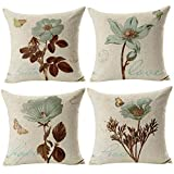 Gspirit 4 Pack Retro Flor Algodón Lino Throw Pillow Case Funda de...