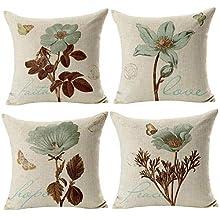 Gspirit 4 Pack Retro Flor Algodón Lino Throw Pillow Case Funda de Almohada para Cojín 45x45 cm