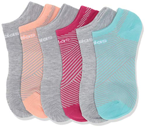 adidas Youth Kids-Girl's Superlite No Show Socks (6 Pair), Clear Aqua/Real Magenta/Glow Pink/Clear Onix/Cool, Medium, (Shoe Size 13C-4Y)