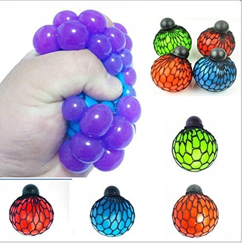 Assortmart TopSeller Mesh Ball Grape Stress Relief Squeezing Hand Wrist Toy Random Color Pack product image