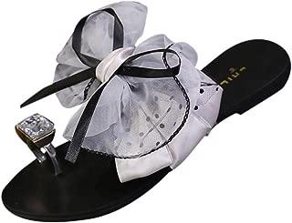 Women Lady Bowknot Flat Low Heel Open-Toe Sandals Slippers Beach Shoes Dressy Casual de Mujer Flip Flops